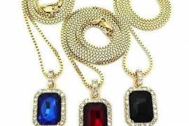 Iced Out Ruby Octagon Pendant Hip-Hop Necklace 24